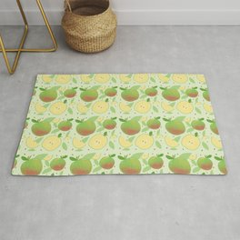 Cute Vintage Fruit Illustration Apple Rug