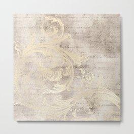 Cream Beige Florish Script Cursive Writing Collage Metal Print