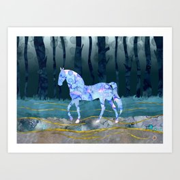 The Mystery Horse - A Woodlands Fantasy Art Print