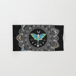 Lunar Moth Mandala with Background Hand & Bath Towel