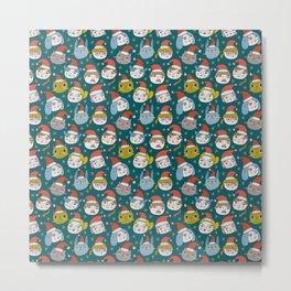Pattern Project / Little Santas Metal Print