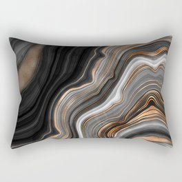 Elegant black marble with gold and copper veins Rectangular Pillow