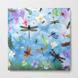 There Be Dragons Whimsical Dragonfly Art Metal Print