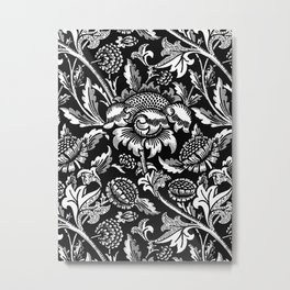 William Morris Sunflowers, Black and White with Gray Metal Print