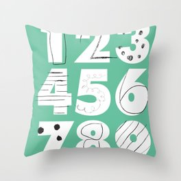 Funky Numbers Throw Pillow
