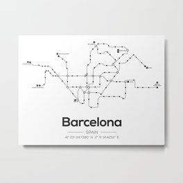 Barcelona Subway Map Metal Print