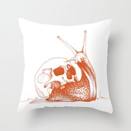 This Skull Is My Home (Snail & Skull) - Orange / Burnt Sienna version Throw Pillow