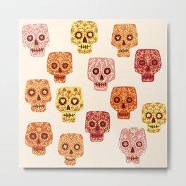 Dia de los Muertos Mexican Decorated Skull Art Metal Print