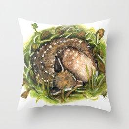 Deer sleeping Throw Pillow