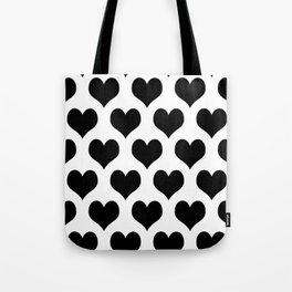 White And Black Heart Minimalist Tote Bag