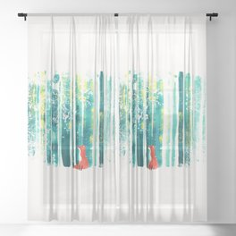 Fox in quiet forest Sheer Curtain