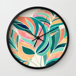 Rise Up / Tropical Leaf Illustration Wall Clock