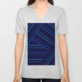 Dark blue striped patchwork Unisex V-Neck