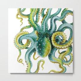 Octopus Tentacles Green Watercolor Art Metal Print