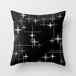 Mid Century Modern Stars (Black) Throw Pillow