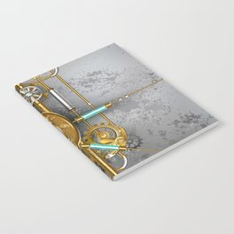 Steampunk Round Banner with Pressure Gauge Notebook