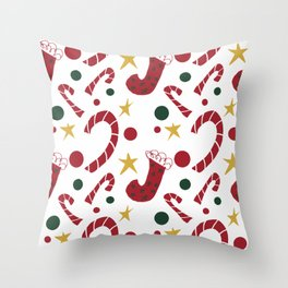 Christmas Stockings and Candy Canes Throw Pillow