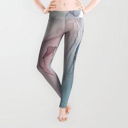 Calming Pastel Flow- Blush, grey and blue Leggings