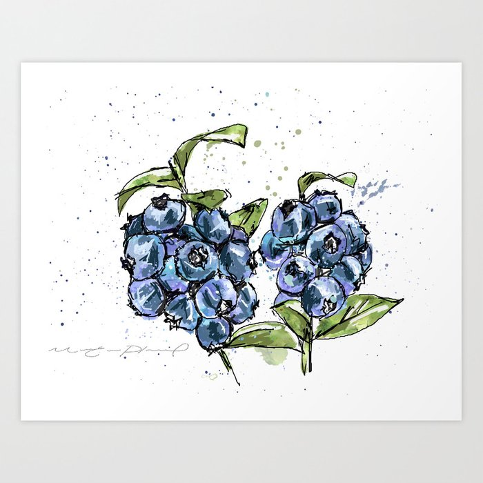 Blueberries Art Print by marieevepharand | Society6