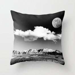 Black Desert Sky & Moon // Red Rock Canyon Las Vegas Mojave Lune Celestial Mountain Range Throw Pillow