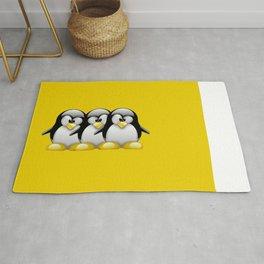 Linux Tux penguins friends Rug