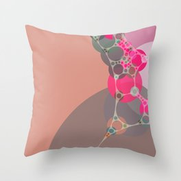 stephanie - bright abstract in shades of pink blush fuschia pale geranium grey Throw Pillow