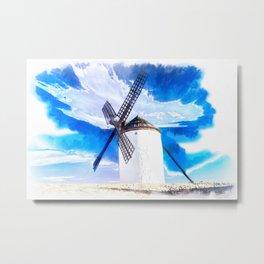wind mill landscape digital aquarell aqstd Metal Print