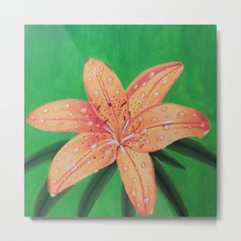 Water Drops on Tiger Lily Metal Print