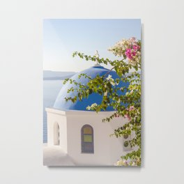 Flowers in Santorini Island, Greece Metal Print