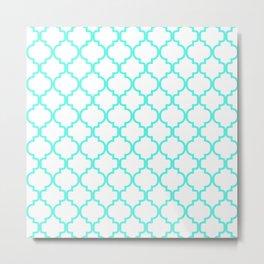 Moroccan Trellis (Turquoise & White Pattern) Metal Print