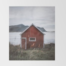 Red Cabin Throw Blanket