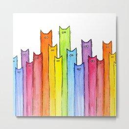 Cat Rainbow Watercolor Pattern Metal Print