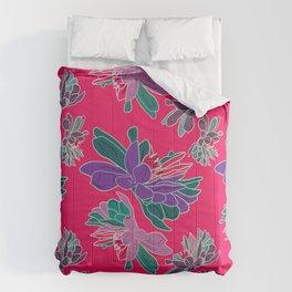 Beautiful sharp pink bold floral pattern Comforters
