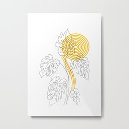 Monstera line Art Metal Print