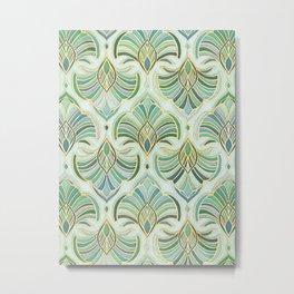 Jade Enamel Art Deco Fans Metal Print