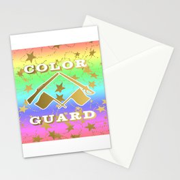 Color Guard Rainbow and Gold Stars Design Stationery Cards