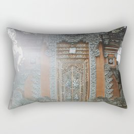 The Orange Temple | Sunrise at Balinese Hindu temple in Bali, Indonesia, Asia - Travel Photographphy Rectangular Pillow