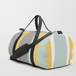 Stripe Abstract, Sun and Beach, Yellow, Pale, Aqua Blue and Gray Duffle Bag