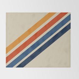 Rainbow 70s 60s Stripe Colorful Rainbow Tan Retro Vintage Throw Blanket