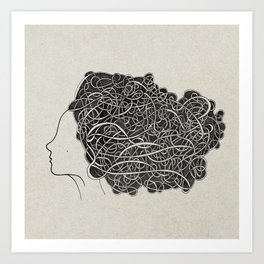 Amanda with curly grey hair Art Print