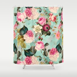 Vintage & Shabby Chic - Summer Teal Roses Flower Garden Shower Curtain
