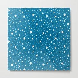 Mosaic Blue Starry Sky Metal Print