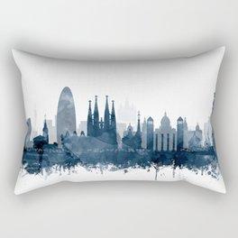 Barcelona Skyline Navy Blue Watercolor by Zouzounio Art Rectangular Pillow