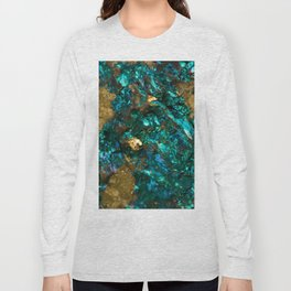 Teal Oil Slick and Gold Quartz Long Sleeve T-shirt