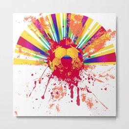 Rainbow rays soccer ball Metal Print