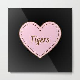 I Love Tigers Simple Heart Design Metal Print