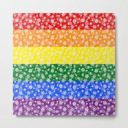 Christmas Pride Bright Festive Rainbow Snowflakes Metal Print