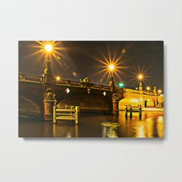 Night on the Moltke-Bridge in Berlin Metal Print