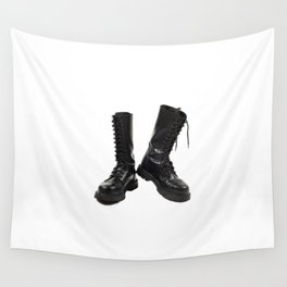Pair of black leather bovver boots Wall Tapestry