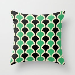Classic Fan or Scallop Pattern 447 Black and Green Throw Pillow